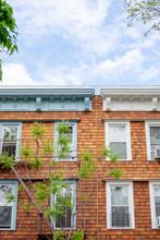 A Cedar Shingled Apartment Glows In Daylight On A Side Street In Brooklyn, New York