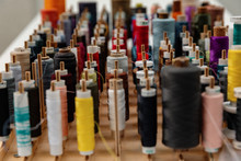 Collection Of Multicolored Thread Spools