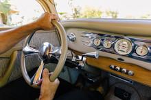 Hands On Steering Wheel In Car