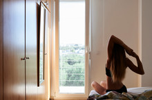 Faceless Woman Lazy Wake Up.