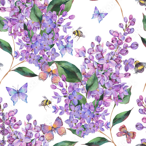 Leinwandbilder - Spring watercolor blooming lilacs flowers seamless pattern, bees and butterfly.