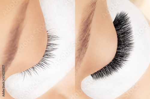 Fotografia Eyelash extension procedure before after