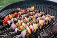 Skewered Kebabs On A Grill