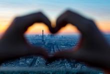 Paris Cityscape At Sunset. Eiffel Tower.