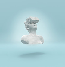 A Marble Female Statue Levitating With A Virtual Reality Headset