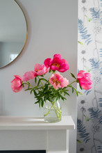 Pink Peonies On A Mantelpiece