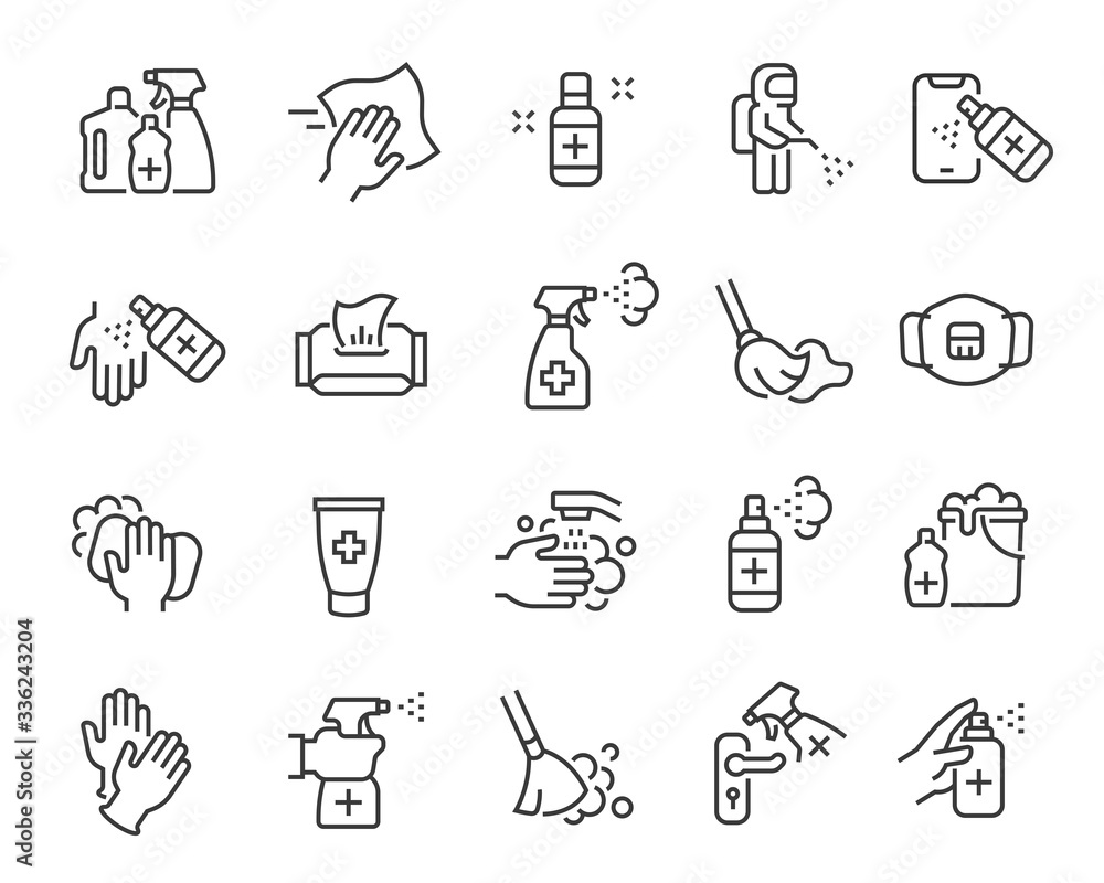 Fototapeta Disinfection and cleaning icon set. Collection of linear simple web icons such as hygiene, disinfection, cleaning, washing and other. Editable vector stroke.