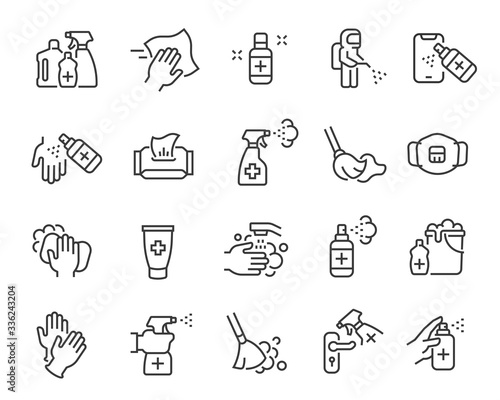 Photo Disinfection and cleaning icon set