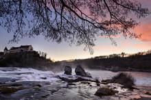 Switzerland, Canton Of Schaffhausen, Schaffhausen, Rhine Falls At Dusk With?Laufen Castle In Background