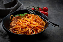 Bowl Of Spaghetti With Basil A...