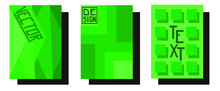 Set Of Green Geometric Banners Cards For Buisnesses . Vector