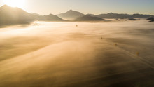Aerial View Of Misty Morning I...
