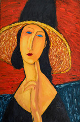 Fototapeta Do salonu Beautiful Image Oil portrait On Canvas. Portrait of a woman in a hat. On the motives of painting by Amedeo Modigliani