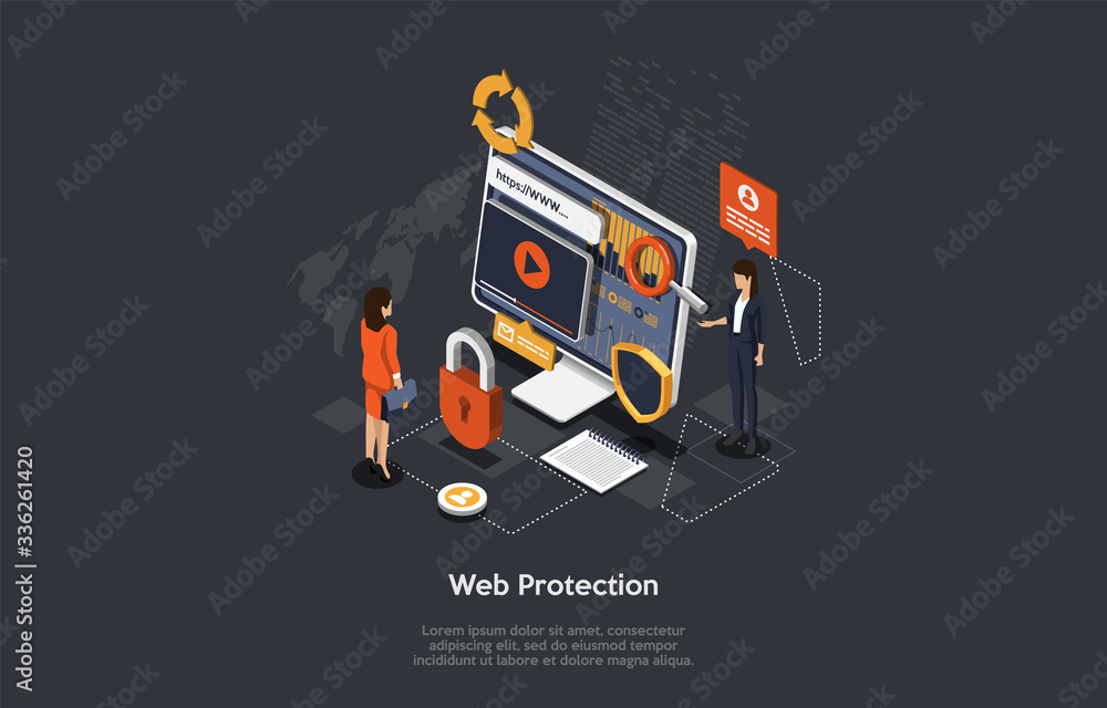 Fototapeta Isometric Web Protection Concept. Protection Network Security And Data Safe Concept With Business People. Web Page Design Templates Cybersecurity. Prevention Of Digital Crime. 3D Vector illustration