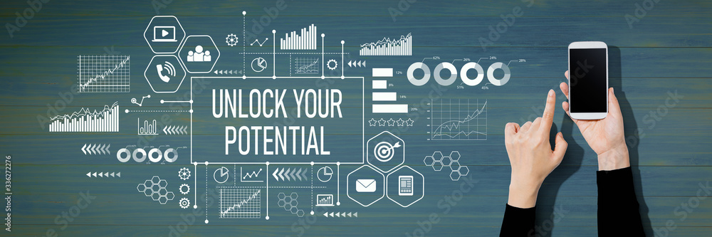 Fototapeta Unlock your potential with person using a white smartphone