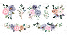Blue Pink Floral Arrangement W...