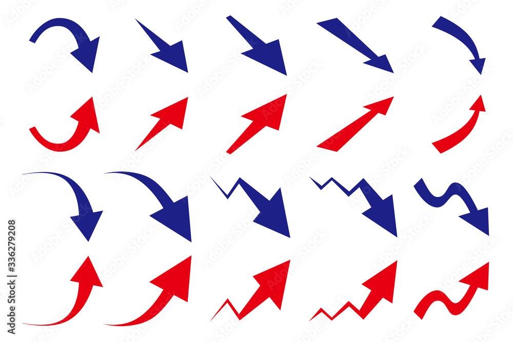Fototapeta 上昇 下降 矢印 セット 赤と青