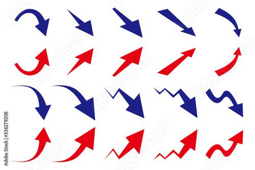 Vászonkép 上昇 下降 矢印 セット 赤と青