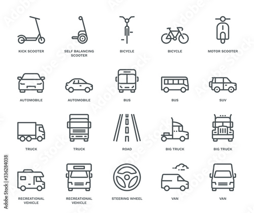 Road Transport Icons Fototapeta