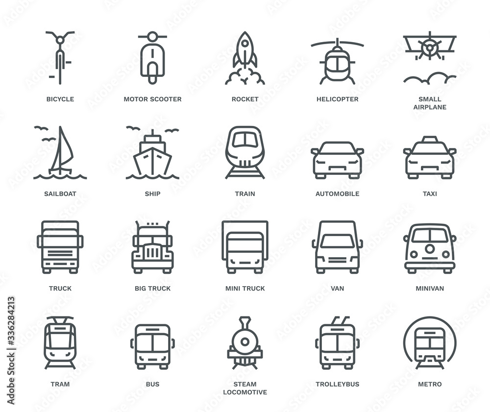 Fototapeta Transport Icons, front View, part II.