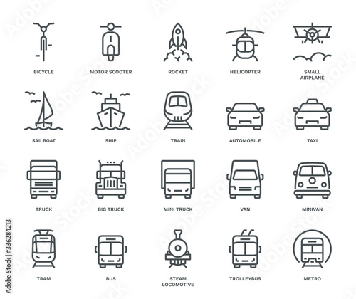 Obraz na plátně Transport Icons, front View, part II.