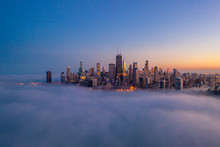 Downtown Chicago Covered In Fog At Dusk