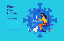 Illustrations Concept Coronavirus COVID-19. Vector. The Company Allows Employees To Work From Home To Avoid Viruses