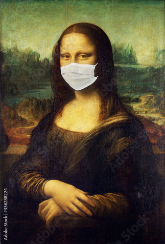 Mona Lisa wearing face medical mask Antivirus concept Wallpaper Mural