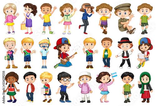 Obraz Large set of children doing different activities - fototapety do salonu