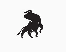Strong Bull Attack Look Back Logo Design Inspiration