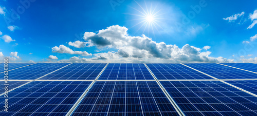 Photovoltaic solar power panel on sky background,green clean alternative energy concept Canvas Print