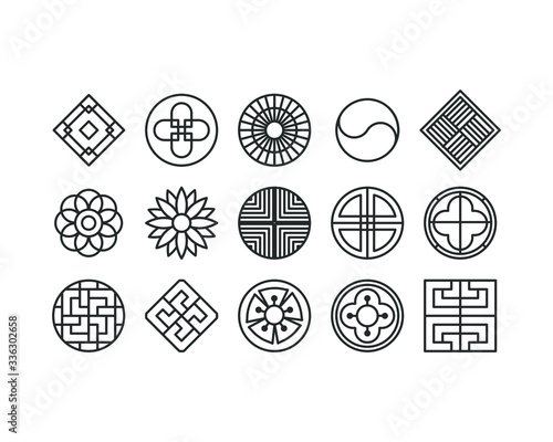 Korea traditional pattern outline icon collection Fototapeta