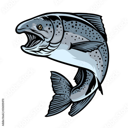 Fotomural chinook salmon fish in hand drawn style