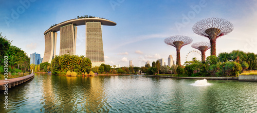 Fototapeta SINGAPORE - FEBRUARY 27, 2019: Singapore Super tree garden in Marina bay at day, nobody obraz