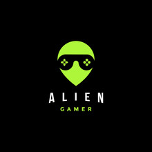 Alien Gamer Logo With Joystick As Glasseye