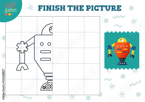 Obraz Copy picture vector illustration. Complete and coloring game for preschool and school kids - fototapety do salonu