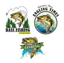 Bass Fishing Emblems. Largemou...