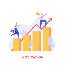 Boss Motivates The Employee For Good Work. Beginner Career. Concept Of Motivation, Team Spirit, Business Success, Achievement. Vector Illustration In Flat Design For UI, Web Banner, Mobile App