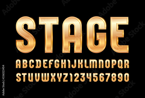 High steel font of golden style, trendy glossy alphabet, aureate Latin letters f Canvas Print
