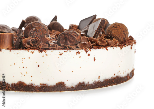 Cuadros en Lienzo Tasty chocolate cheesecake on white background