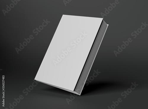 Fotografering Blank A4 book hardcover mockup floating on grey background 3D rendering