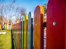 Wooden Fence Painted In Differ...