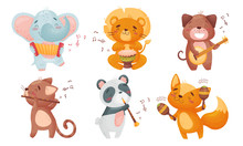 Cartoon Animals Playing Musica...