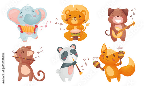 Cartoon Animals Playing Musical Instruments with Cat Fluting Vector Set #336328068
