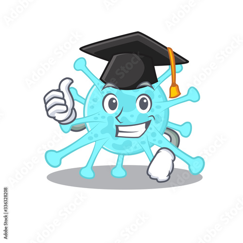 Happy face of cegacovirus in black graduation hat for the ceremony Wallpaper Mural