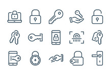 Key And Lock Line Icons. Access, Password And Login Vector Linear Icon Set.