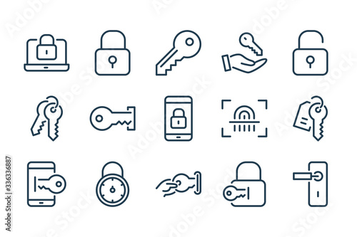Stampa su Tela Key and lock line icons