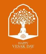 Vesak Day Traditional Buddhism Religion Holiday, Buddha In Lotus At Tree, Vector. Vesak Day Or Buddha Day Silhouette, Buddhism And Hinduism Religious Celebration