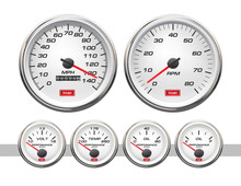 Car Dashboard Gauges Set. Vector Illustration Isolated On White Background. Fuel Gauge, Speedometer, Tachometer, Temperature Indicator. Set Of Car Speedometers For Racing Design.