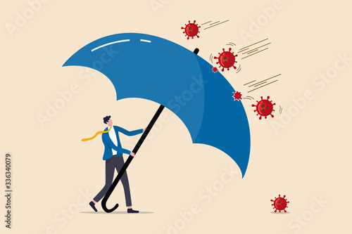 Obraz COVID-19 Coronavirus outbreak financial crisis help policy, company and business to survive concept, businessman leader stand safe by cover himself with big umbrella from COVID-19 Coronavirus pathogen - fototapety do salonu
